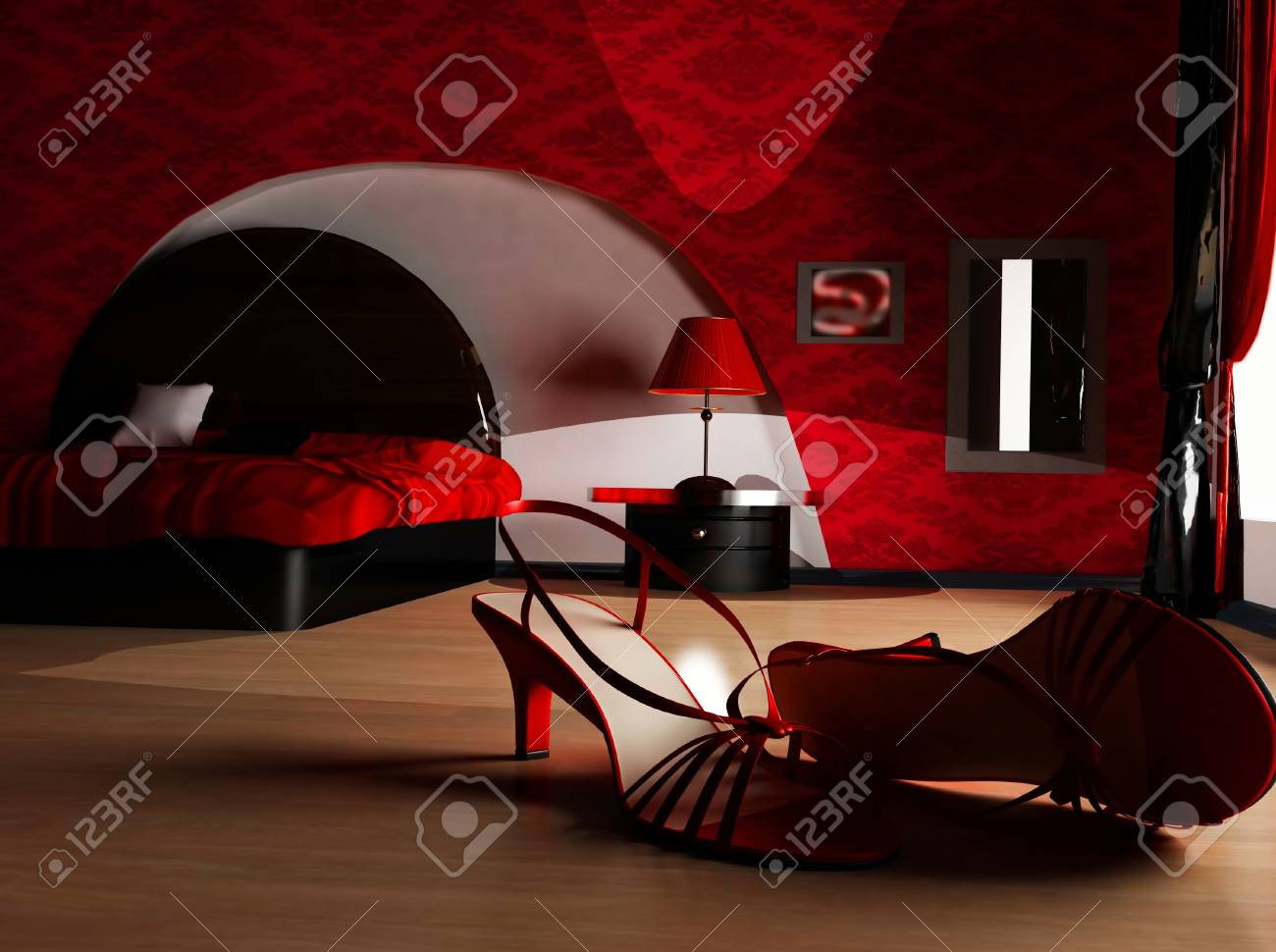 this is an interior of a bedroom with the shoes on the floor Stock Photo - 12879633