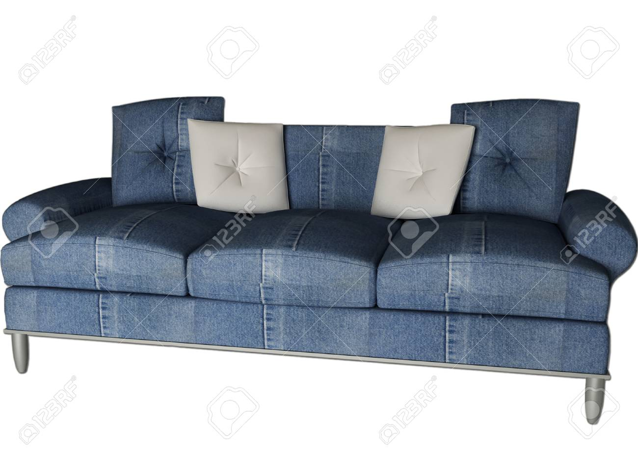 Picture of: Modern Jean Sofa Isolated On White Background Stock Photo Picture And Royalty Free Image Image 12879648