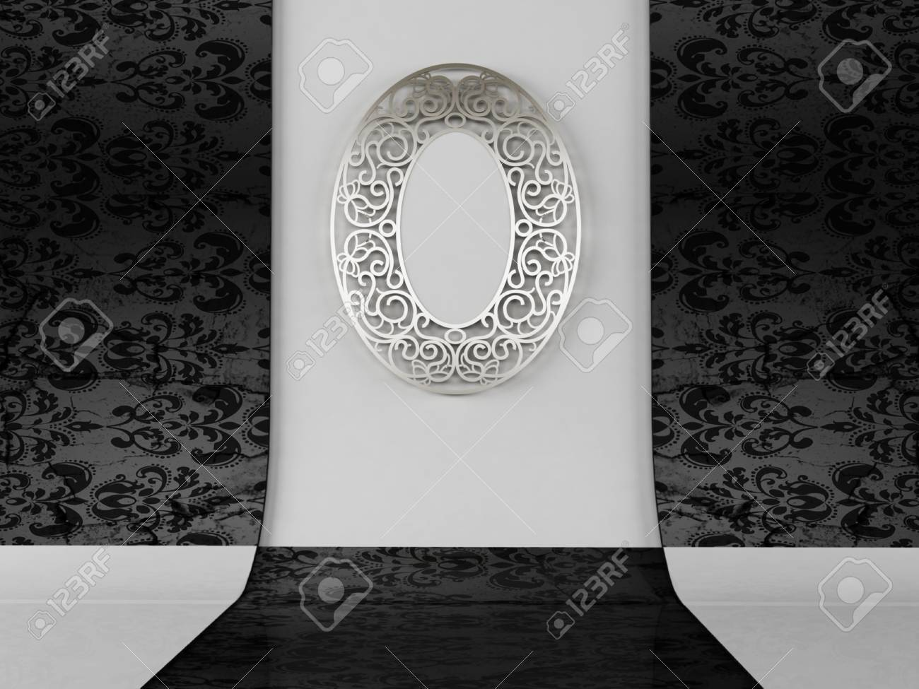 A beautiful vintage mirror on the wall Stock Photo - 12867448