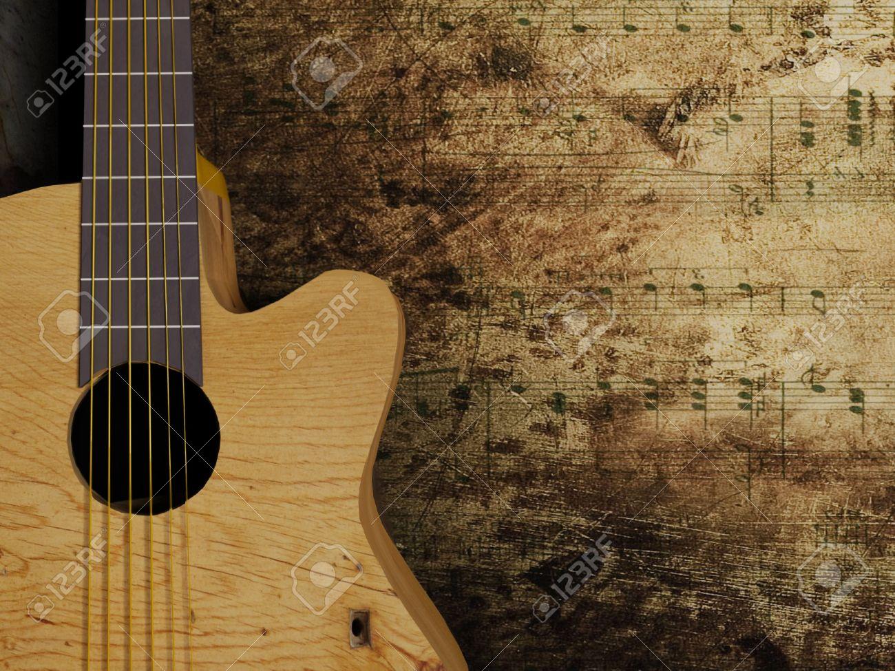 Nice Interesting Guitar On The Grunge Background Stock Photo ...