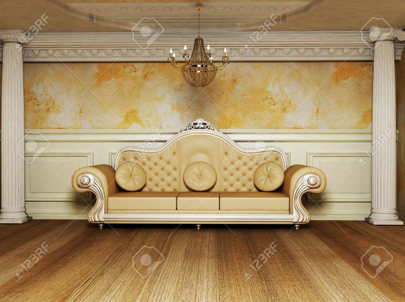 this is an antique interior with a beautiful sofa and the columns