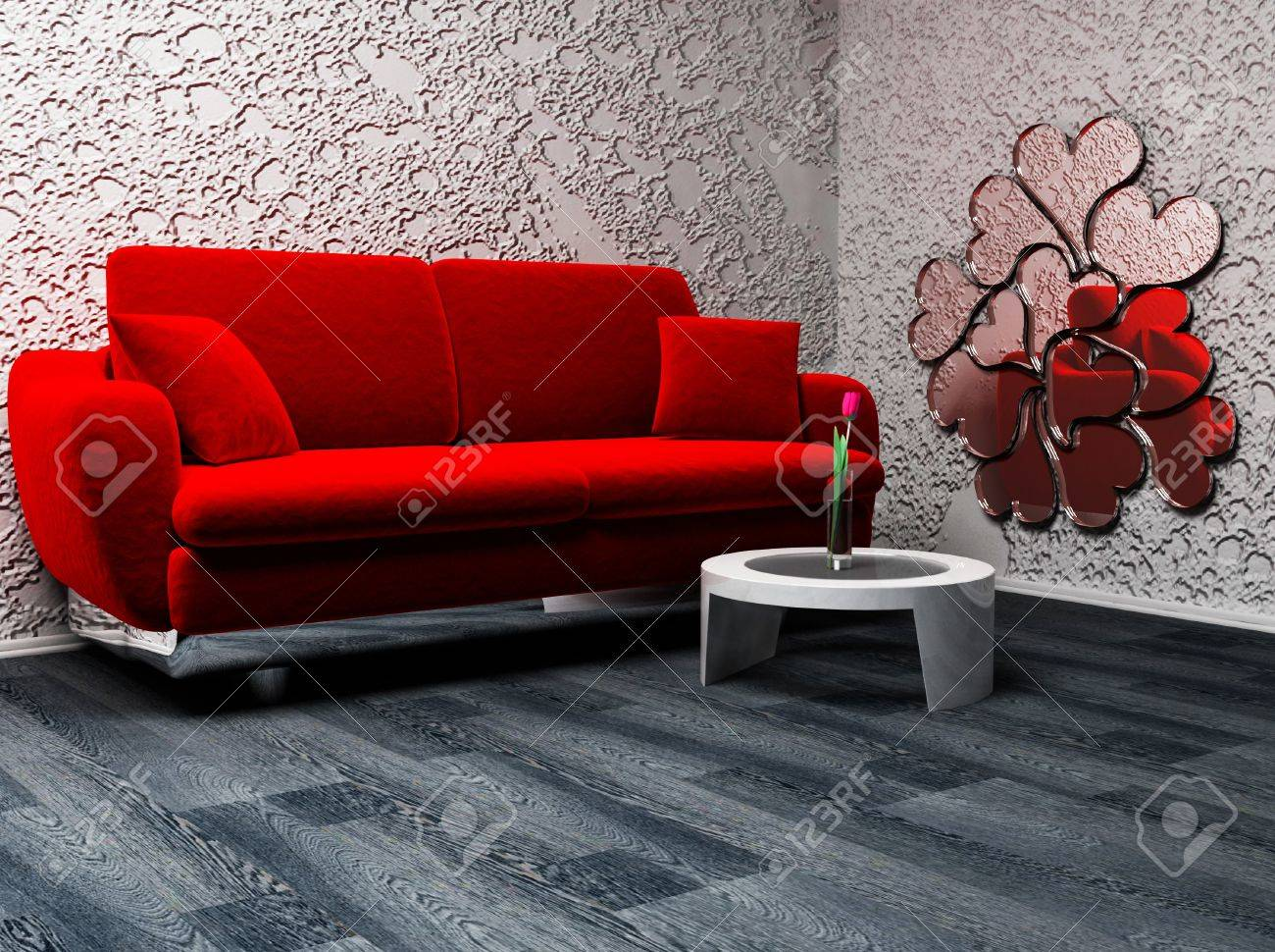 this is a nice romantic interior with a sofa, a mirror on the wall and a vase on the table Stock Photo - 12867383