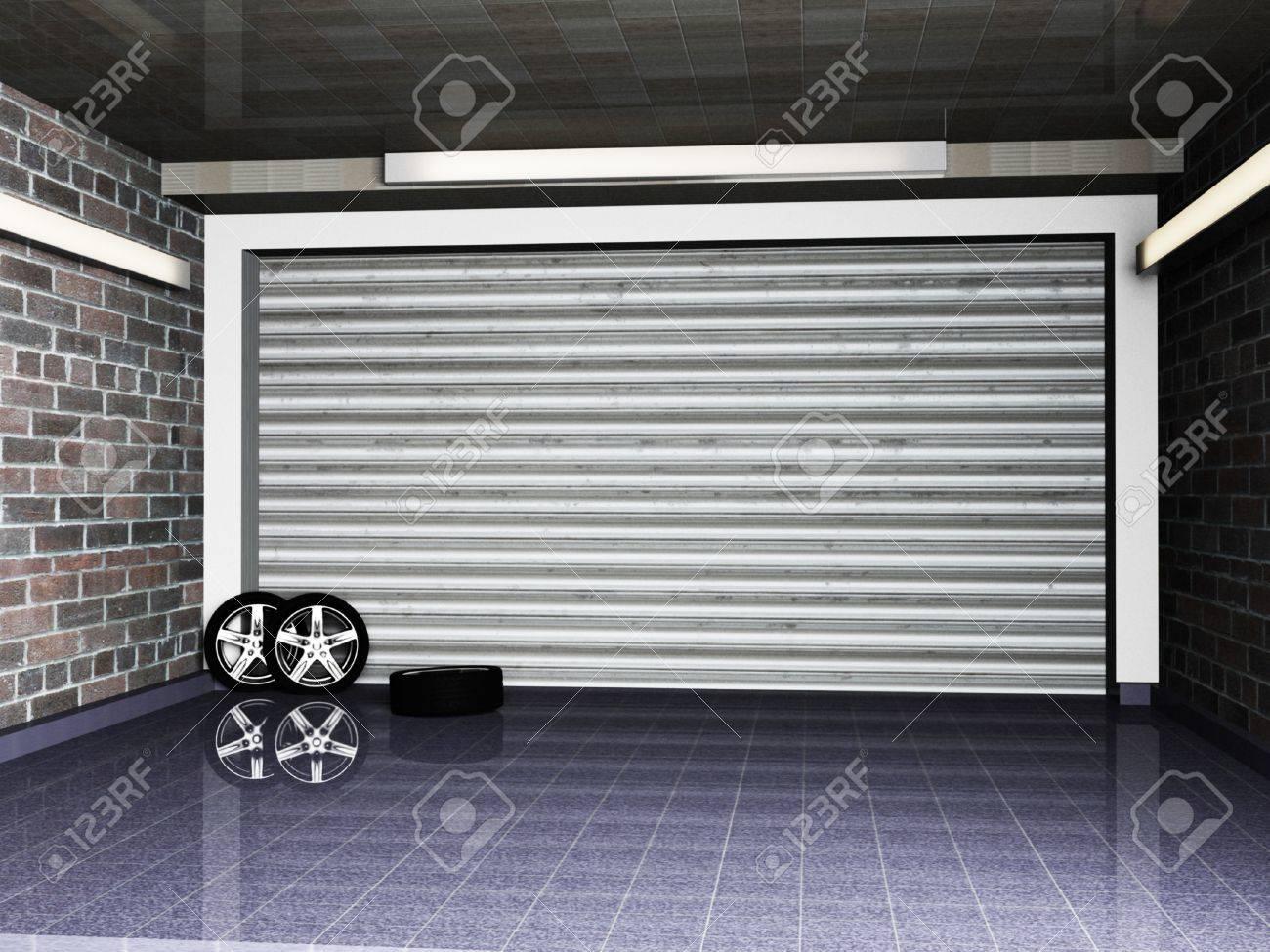Roll up doors interior - Door Roll Garage With Metal Roll Up Door And The Wheel