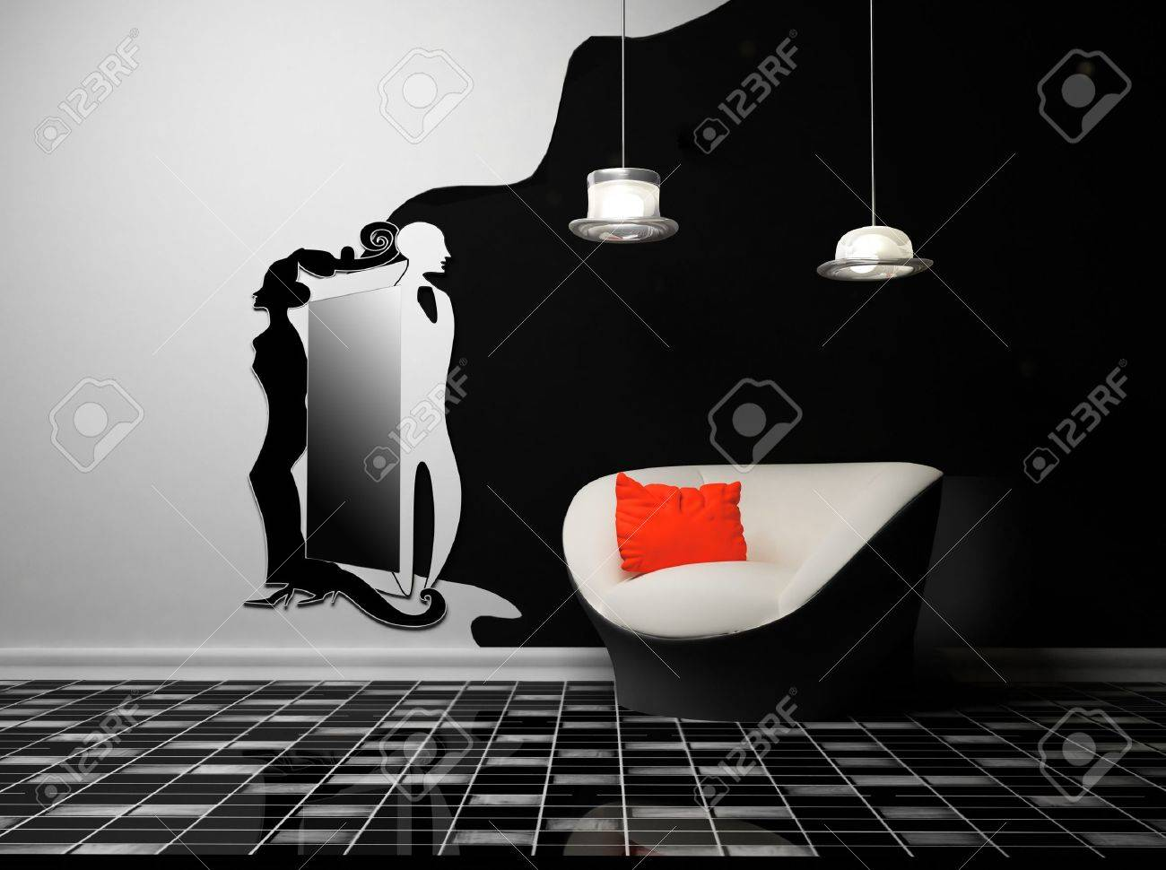 this is a modern creative interior with an armchair and a lamp and a mirror Stock Photo - 12867211