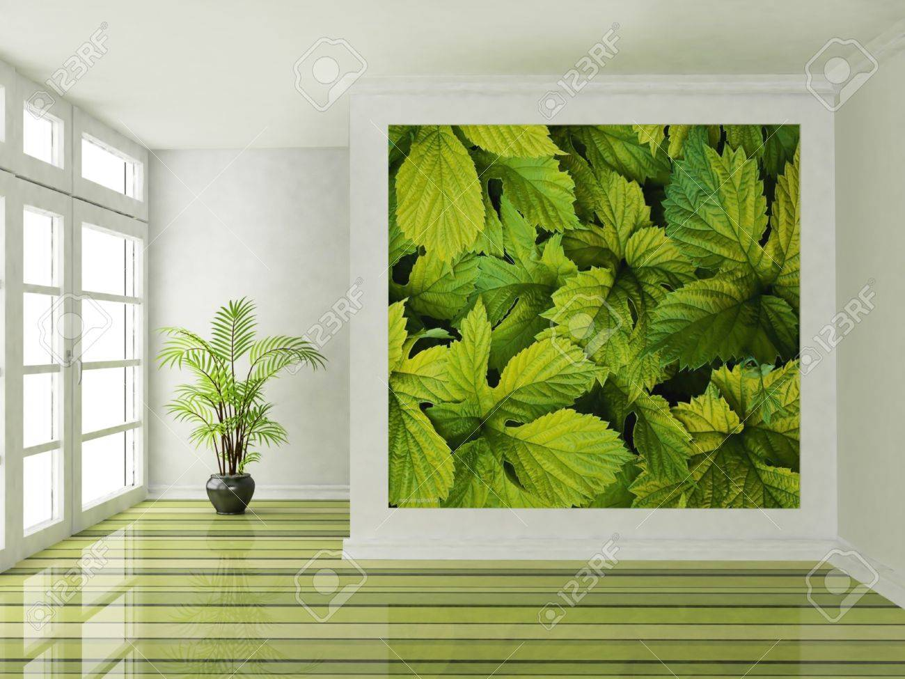 Interior design scene with a big window and a plant Stock Photo - 12880590