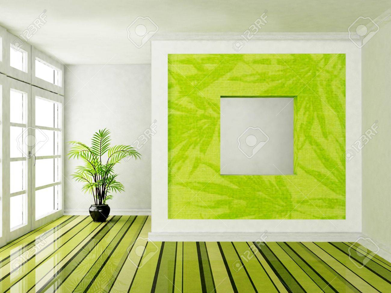 Interior design scene with a big window and a plant Stock Photo - 12867229
