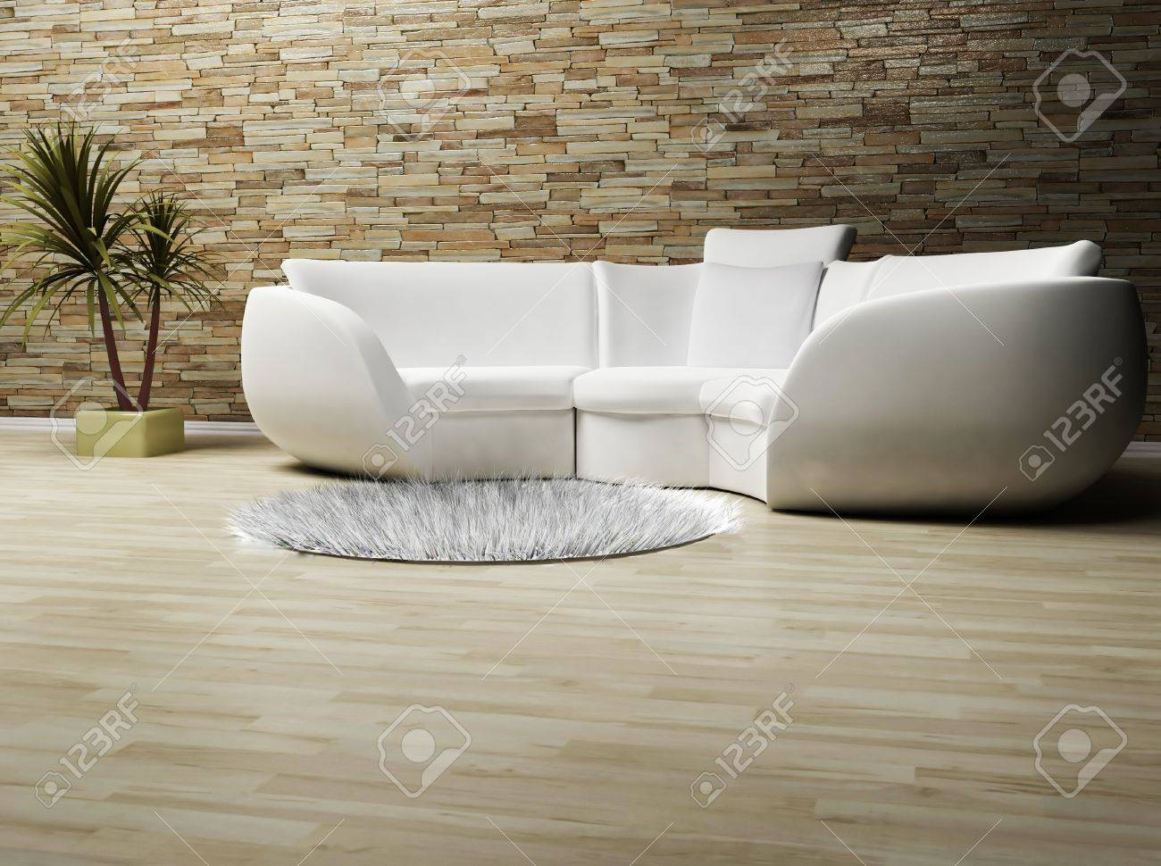 Modern Interieur Wit : This is a modern interior wit a sofa a carpet and a plant stock