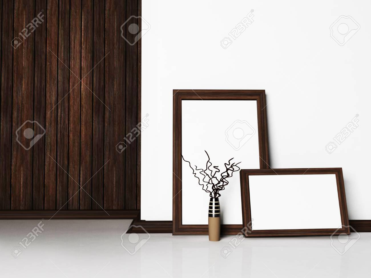 Interior design scene with the pictures and a vase Stock Photo - 12867275