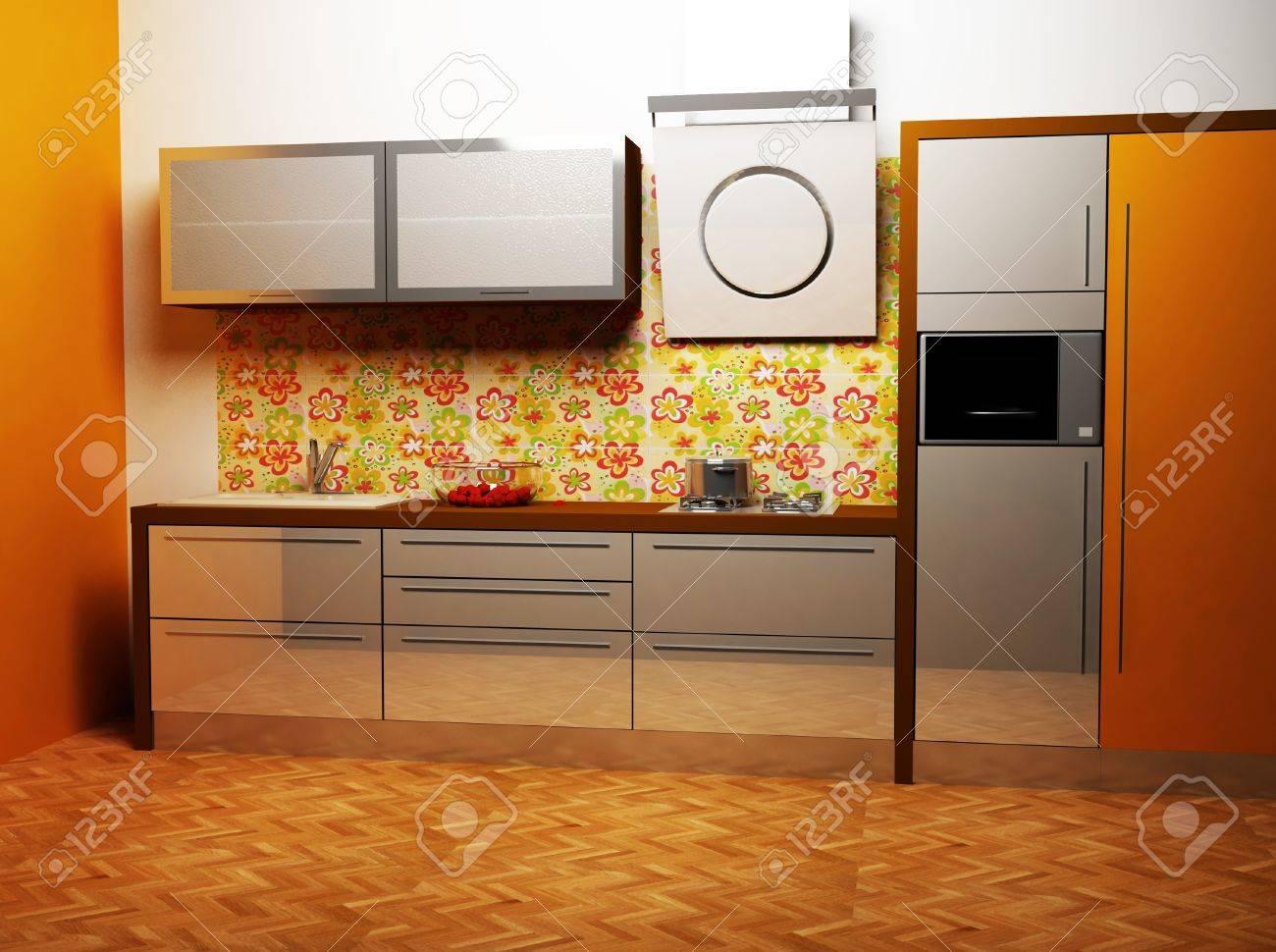 Immagini Stock - Questo è Un Interno Cucina Moderna In Colori Caldi ...
