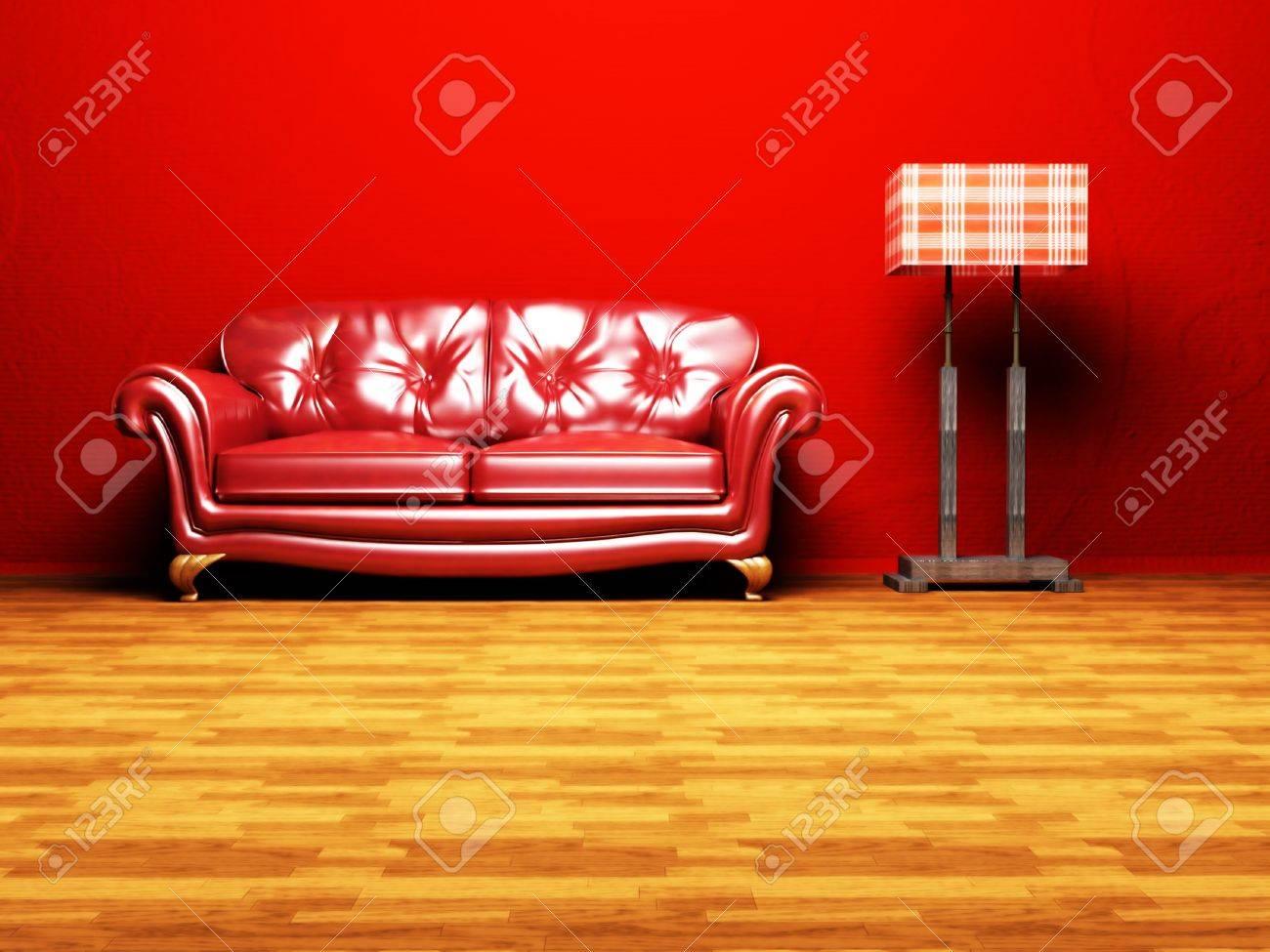 Moderne interieur van een woonkamer met een mooie rode bank en een ...