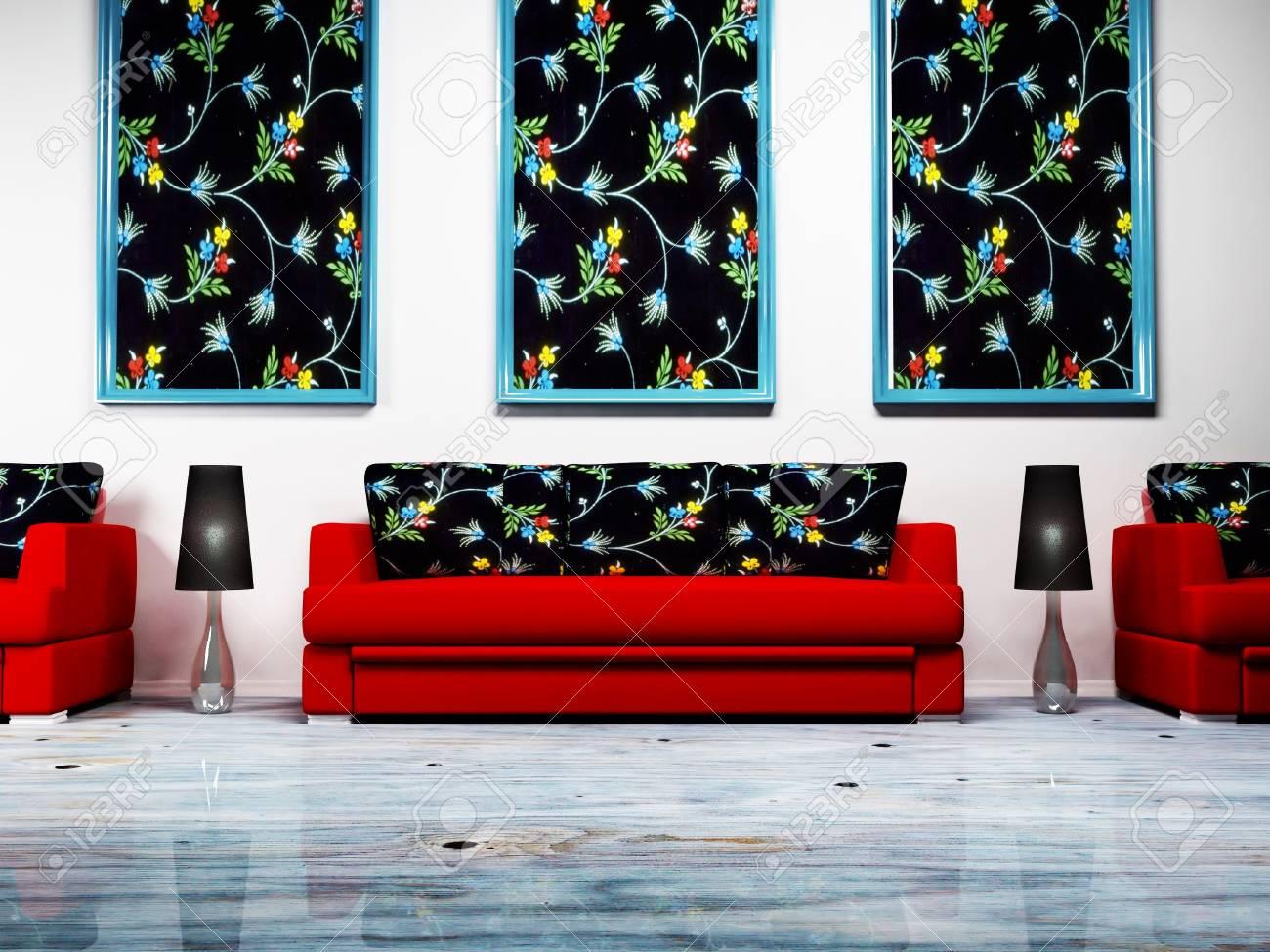 Moderno design degli interni di soggiorno con i divani, le immagini e le  lampade