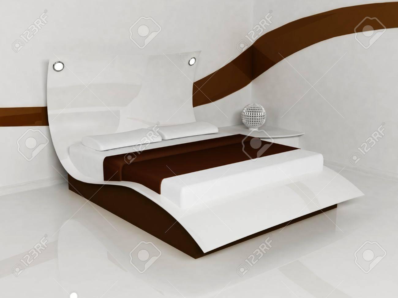 Moderne Raumgestaltung Von Bett-Zimmer Mit Einem Weißen Und Braunen ...