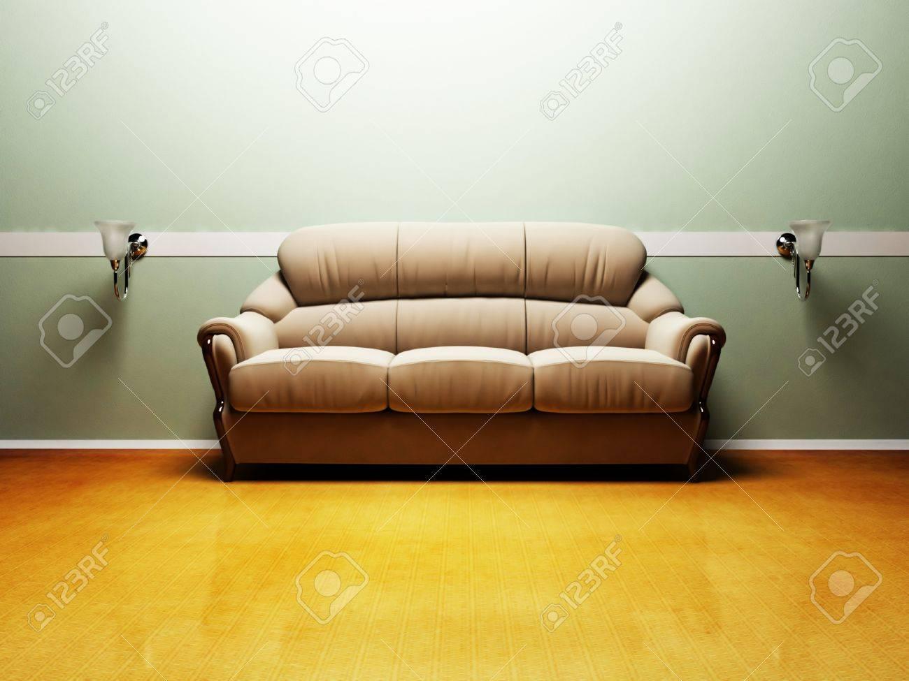 Moderne Innenarchitektur Aus Wohnzimmer Mit Einem Schönen Sofa Und Lampen  Standard Bild   12902638