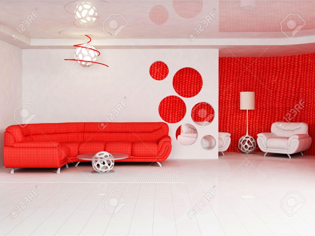 Moderne Innenarchitektur Wohnzimmer Mit Einem Leuchtend Roten Sofa, Einen  Tisch, Eine Stehlampe Und Einem
