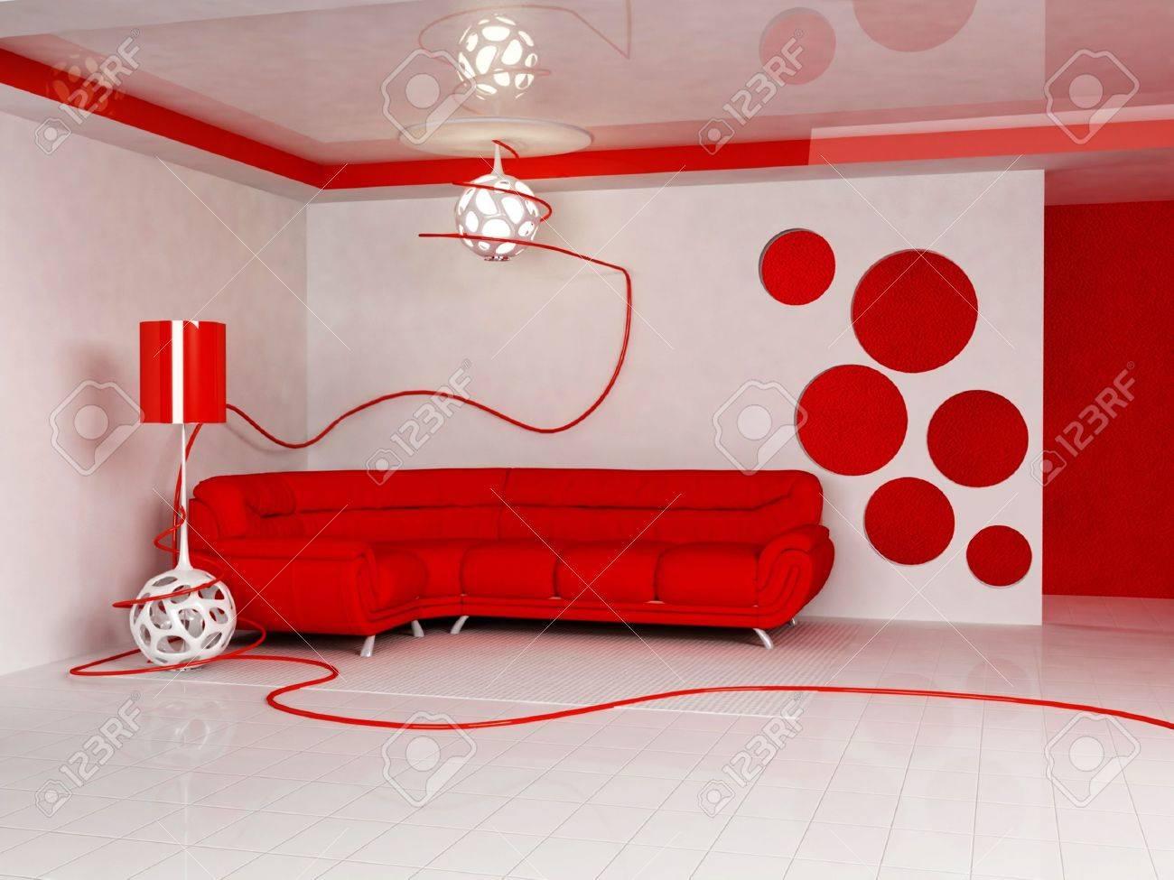 Modern interieur van woonkamer met een heldere rode bank en een ...
