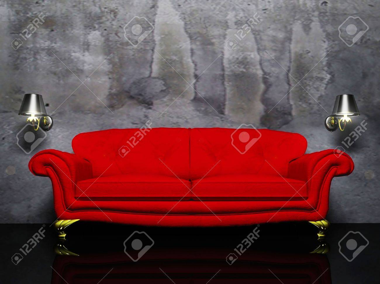 there is a red sofa and the two sconces on the dirty background Stock Photo - 12902964