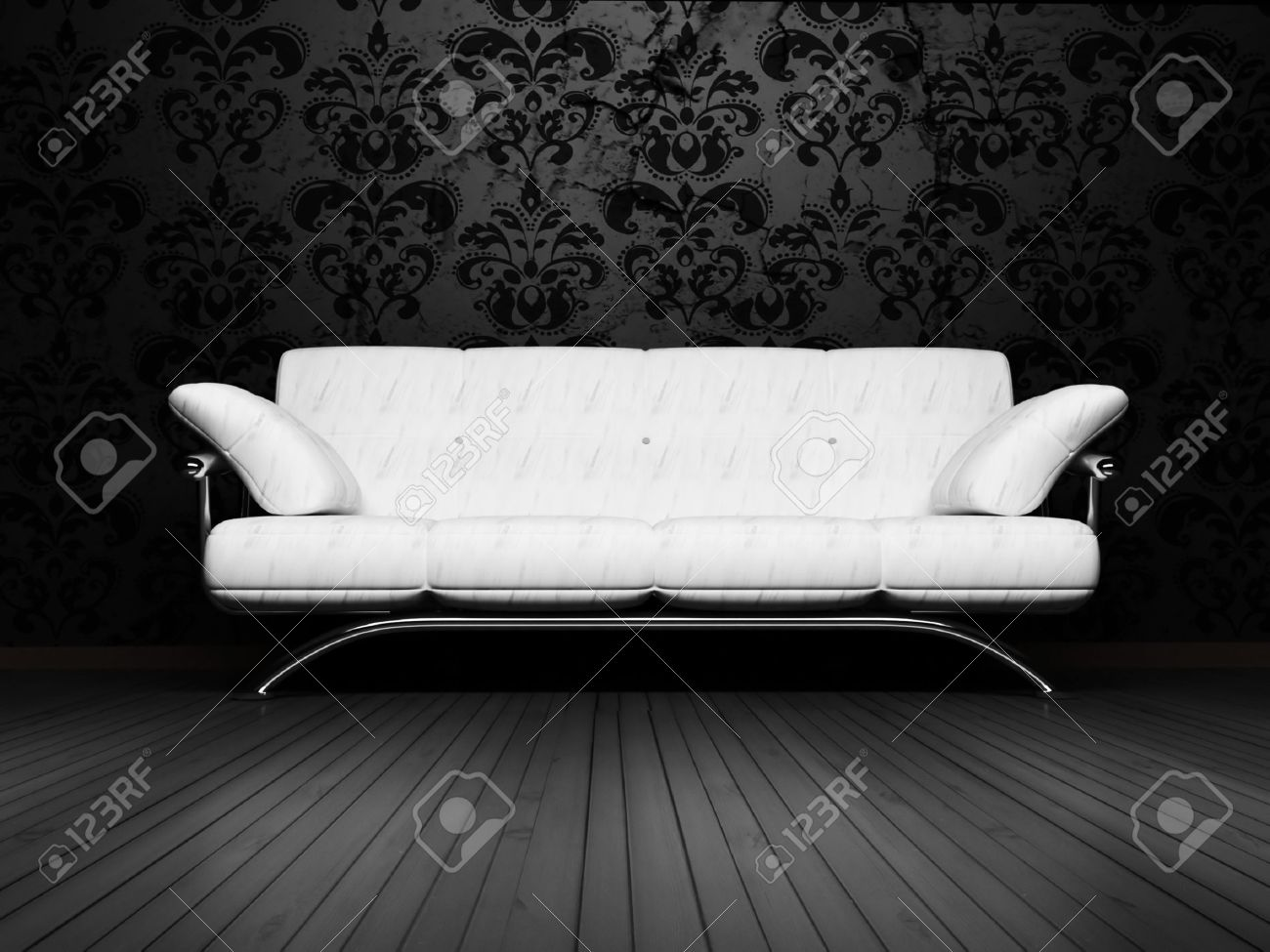 Modern Interior Design Of Living Room With A Royal White Sofa On The Vintage Background Stock