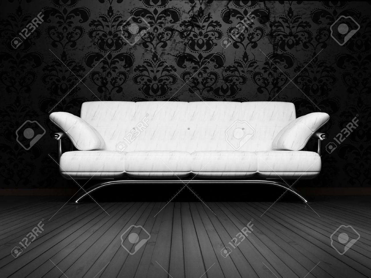 Moderne Innenarchitektur Wohnzimmer Mit Einem Königlichen Weißen ...