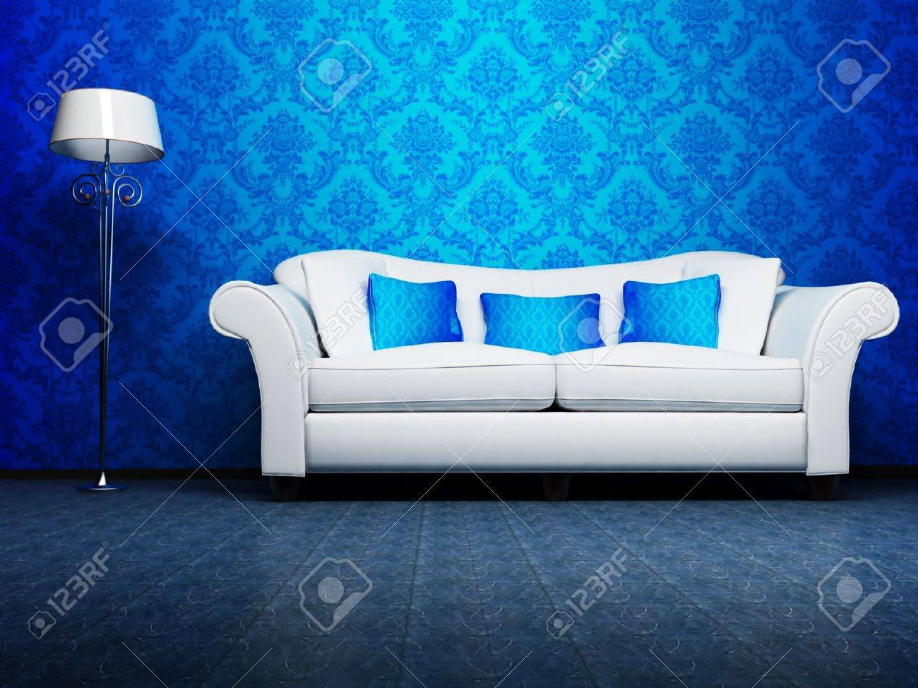 Indoor Parquet Blue Wallpaper Modern Interior Design Of Living Room With A Sofa And