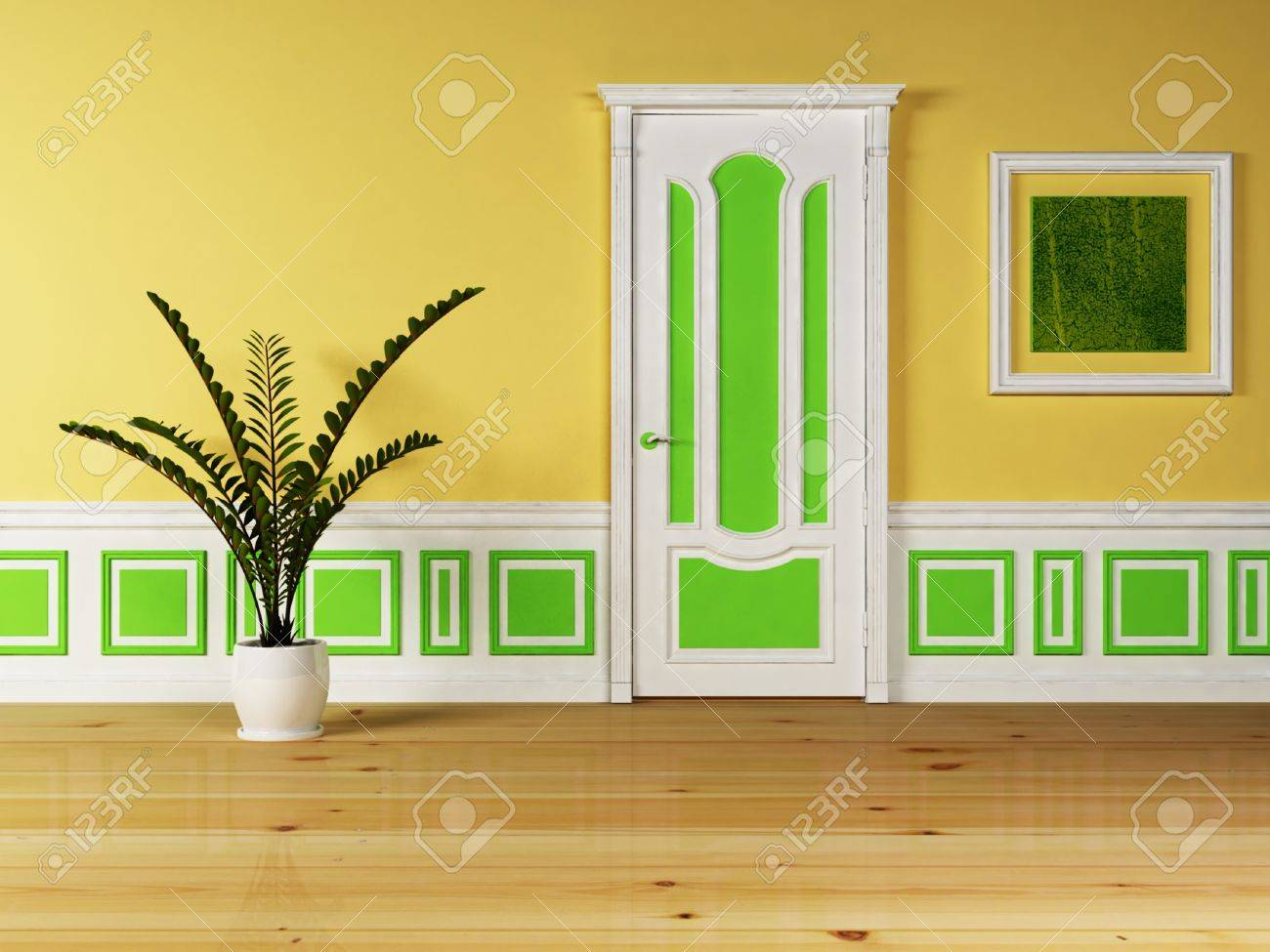 Interior design scene with a classic door and the plant Stock Photo - 12974763