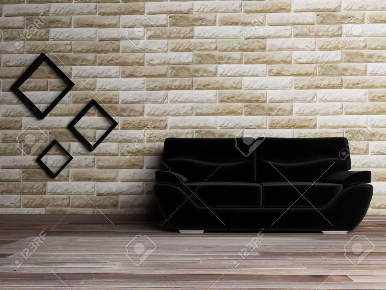 Interior design scene with a black sofa on the brick background Stock Photo - 12974796