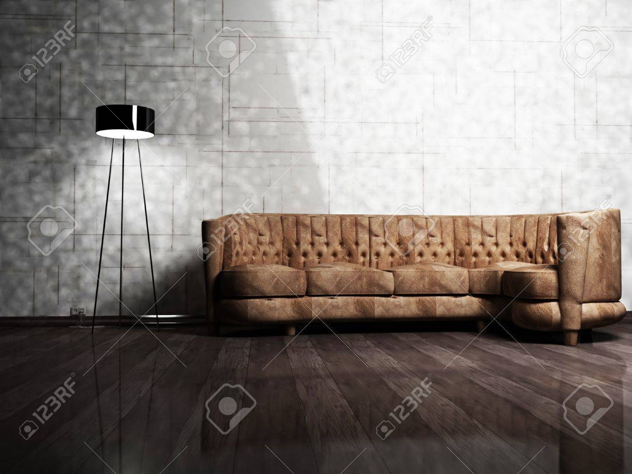 Moderne innenarchitektur wohnzimmer mit einem braunen sofa und ...
