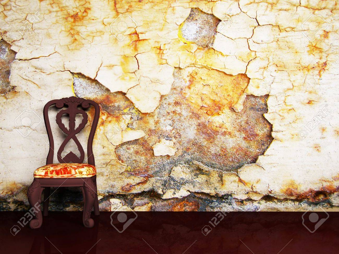 Interior design scene with two classic armchair on the old background Stock Photo - 12974930