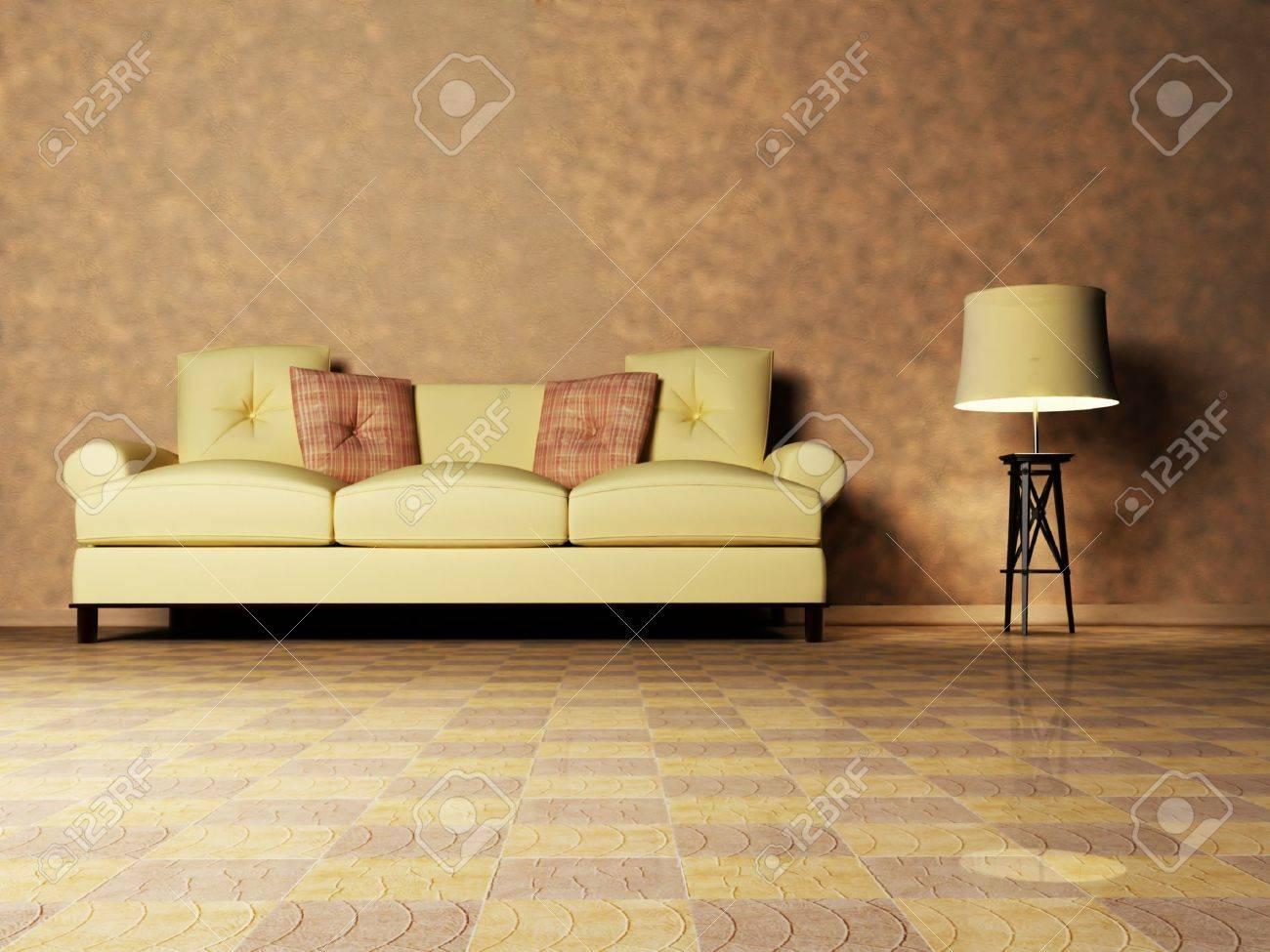 Moderne interieur van een woonkamer met een bruine bank en een ...