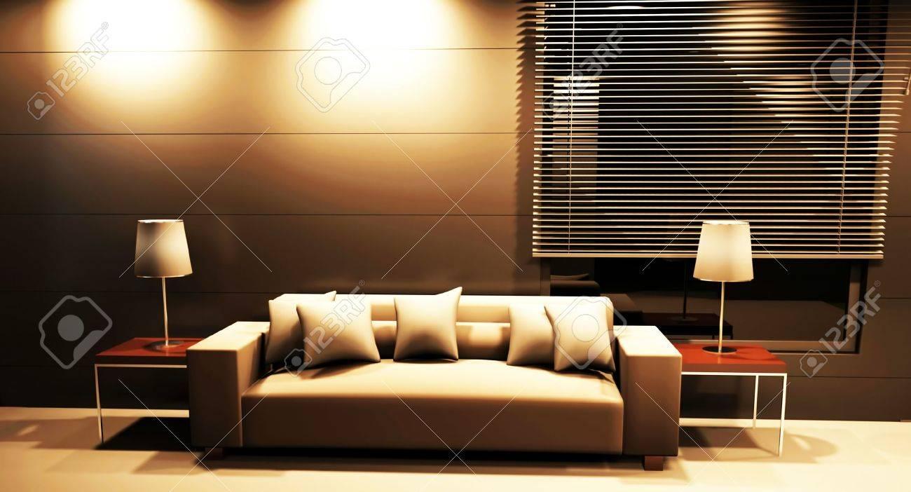 Moderne Innenarchitektur Wohnzimmer Mit Einem Sofa Und Die Lampen  Lizenzfreie Bilder   12974897