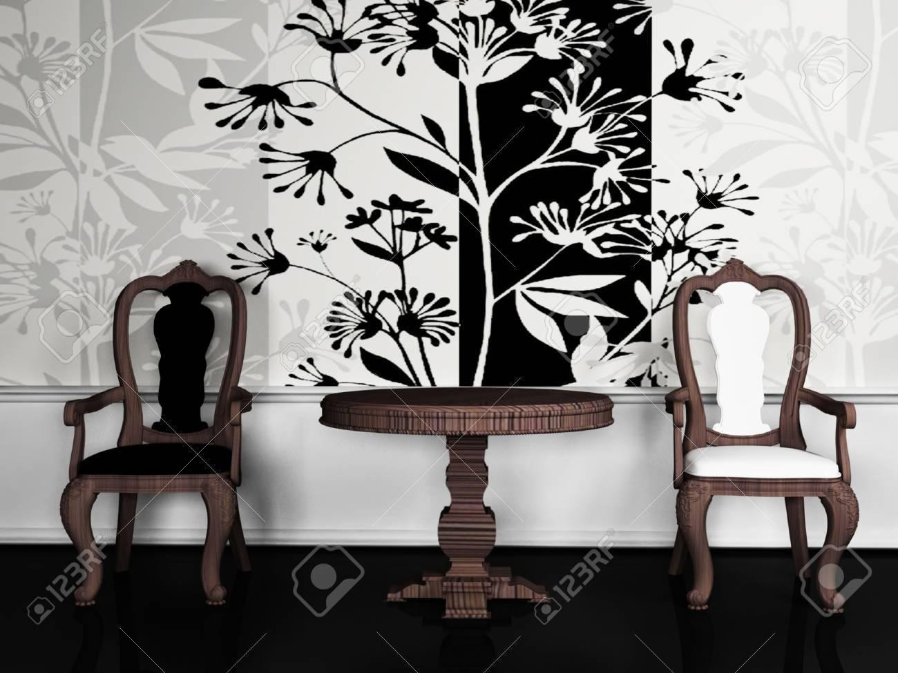 Twee Klassieke Fauteuils.Interieur Design Scene Met Twee Klassieke Fauteuil Op De Mooie