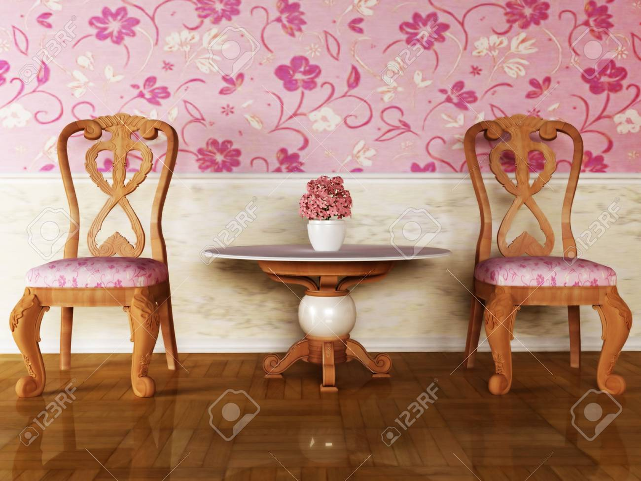 Classic interior design with two chairs and the table Stock Photo - 12974780