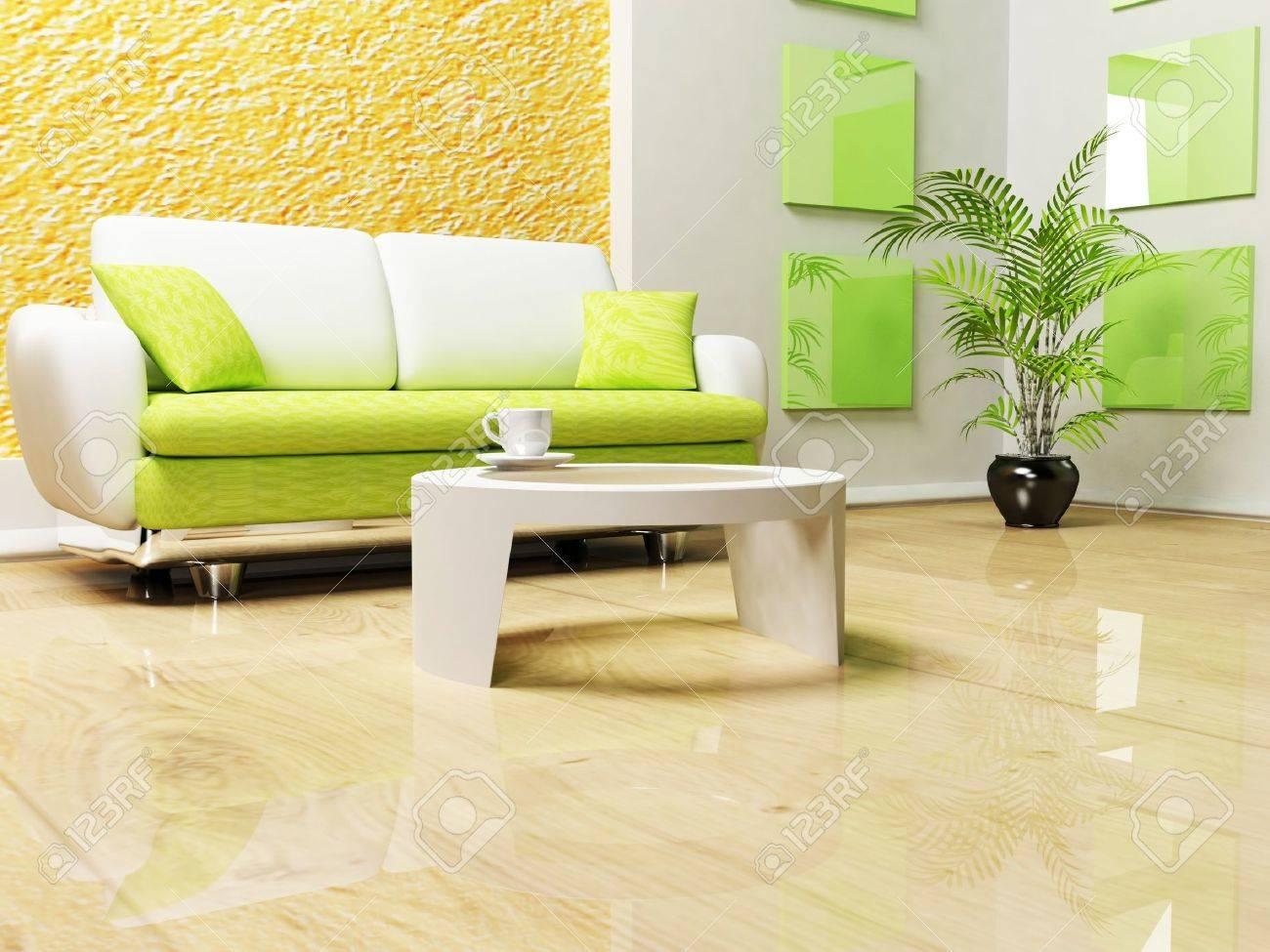 moderno design degli interni di soggiorno con un divano e un ... - Soggiorno Moderno Con Tavolo E Divano