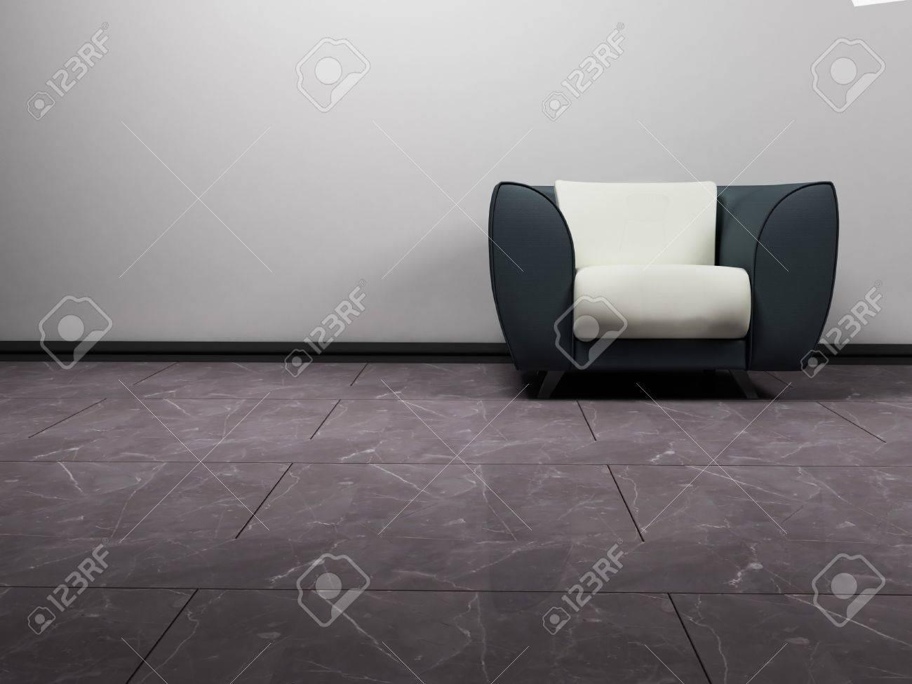 Ein Schöner Moderne Graue Und Weiße Sessel Auf Dem Weißen