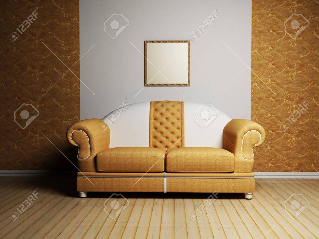 modern interior design with a nice sofa and a picture on the