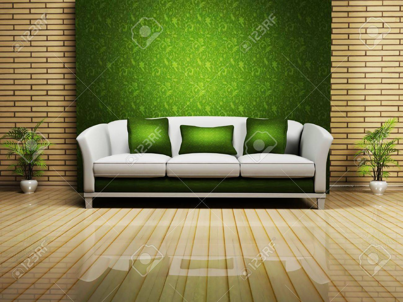 Nice Sofa Modern Interior Design With A Nice Sofa And A Plant Rendering