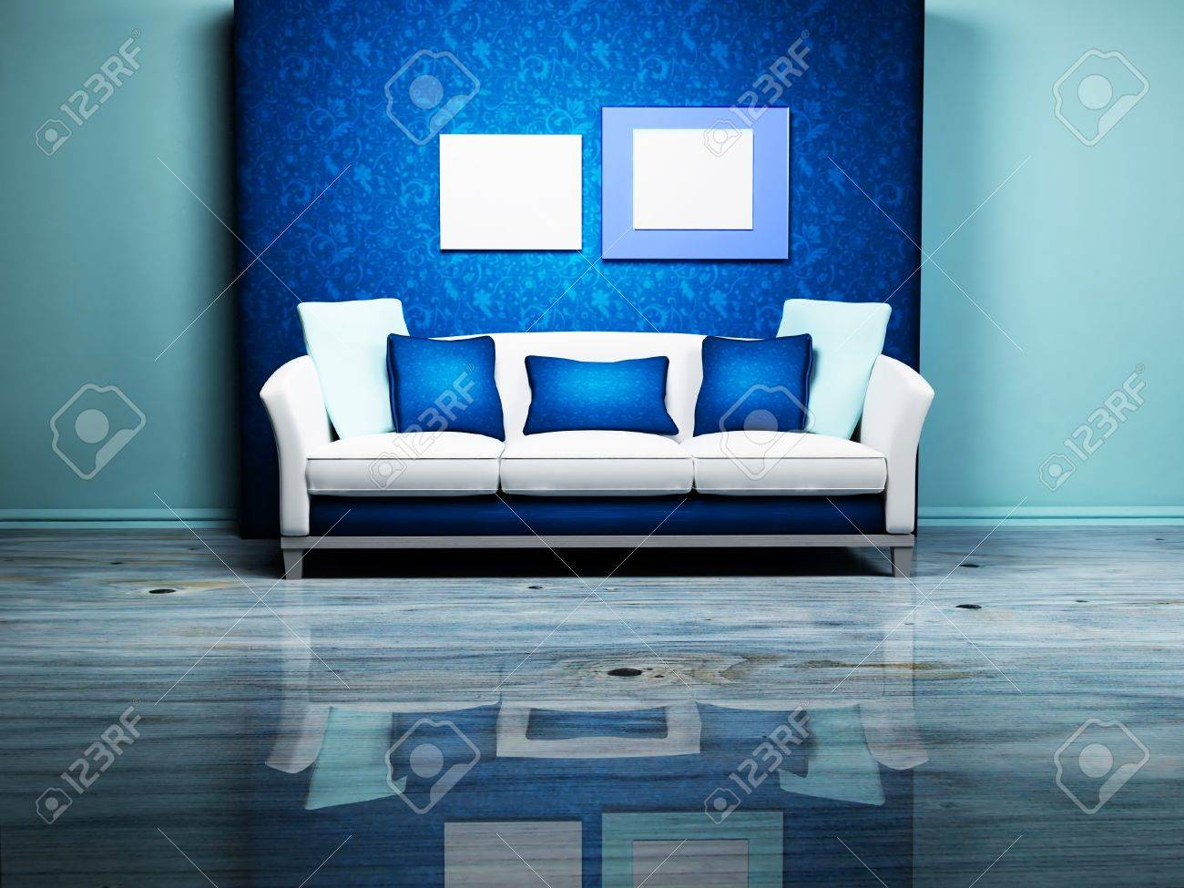 Modern Interior Design With A Nice Sofa And The Pictures On.. Stock ...