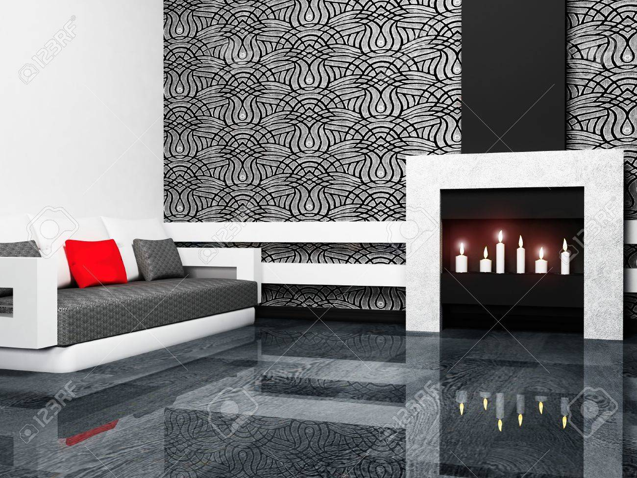 Modern interior design of living room with a fireplase and a sofa, minimalism, 3d rendering - 12975936