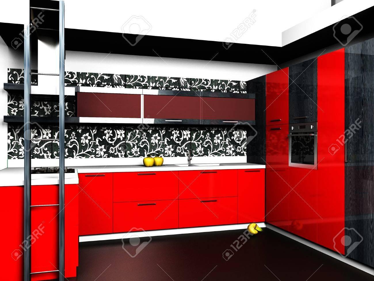Intérieur Au Design Moderne De La Salle à Manger En Noir, Rouge ...