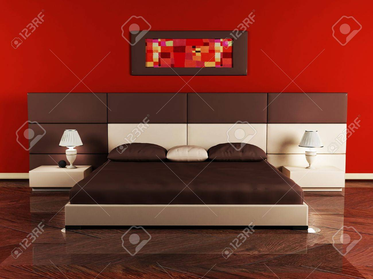 Modern Interior Design Of Bedroom With A Nice Bed And A Table Stock Photo 12975556