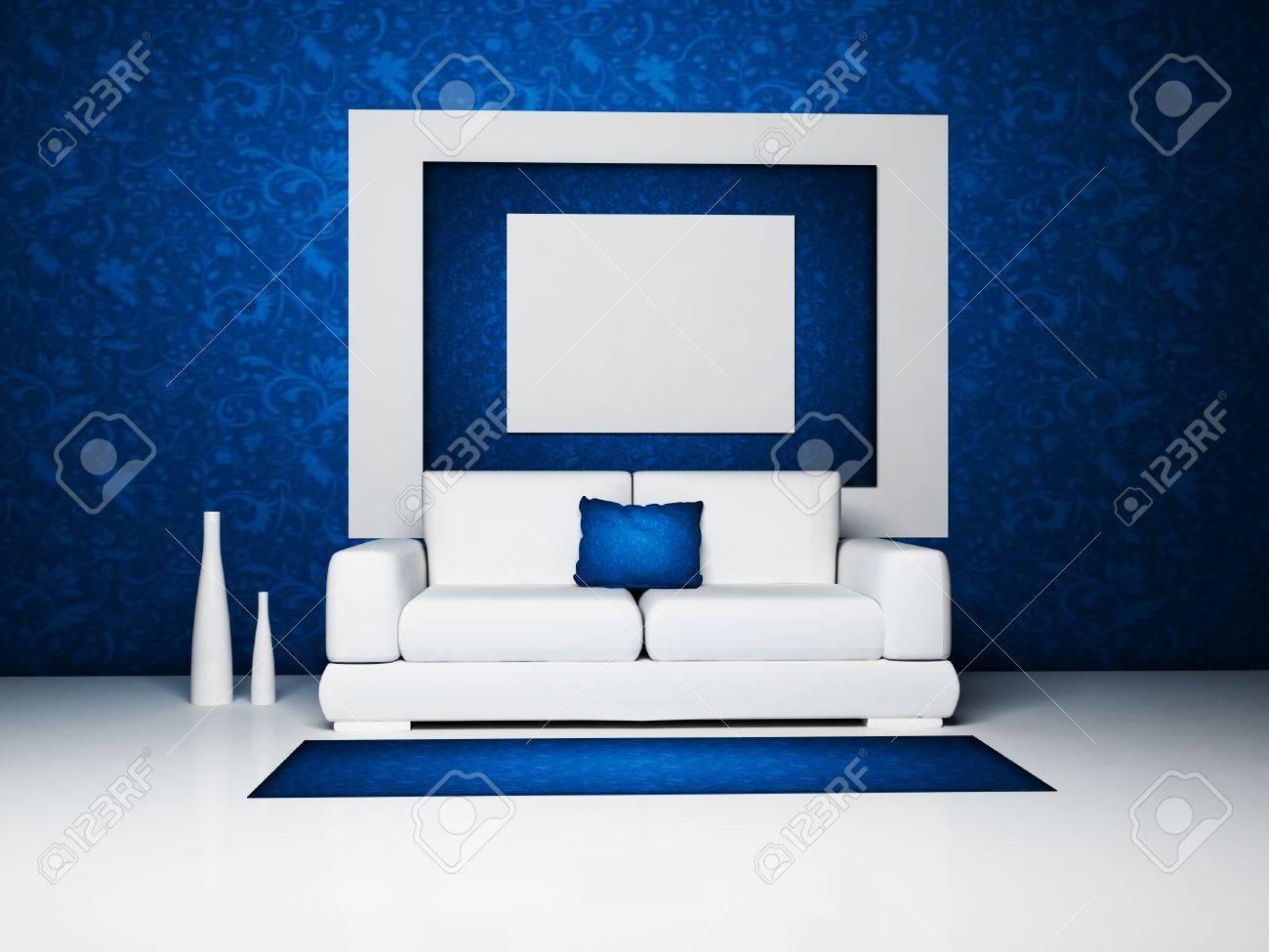 Modern Interieur Woonkamer : Modern interieur van een woonkamer met een witte bank en de vazen