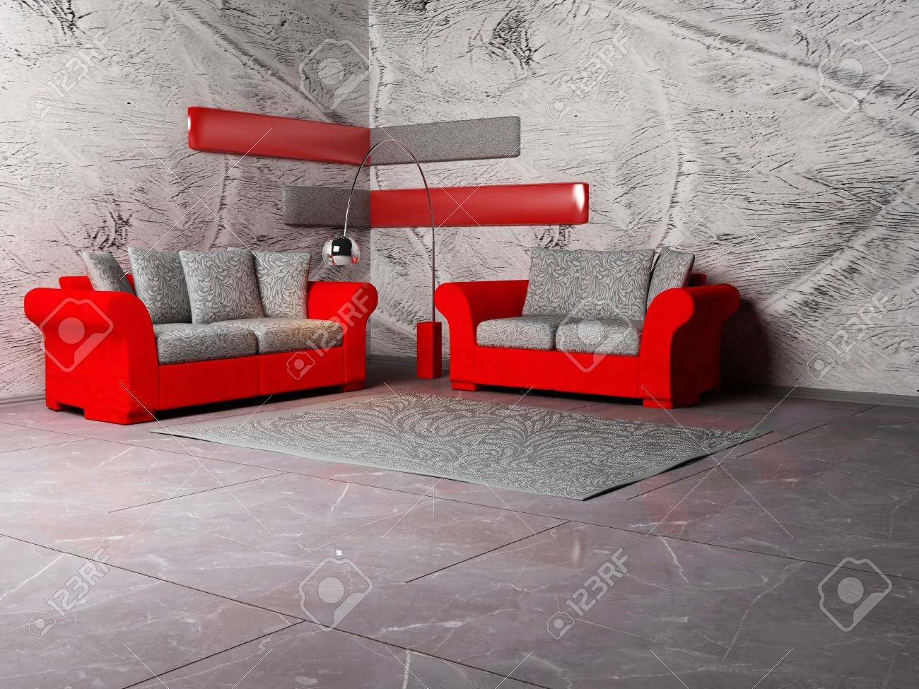 Modern interior design of living room with two nice sofas and a floor lamp stock photo