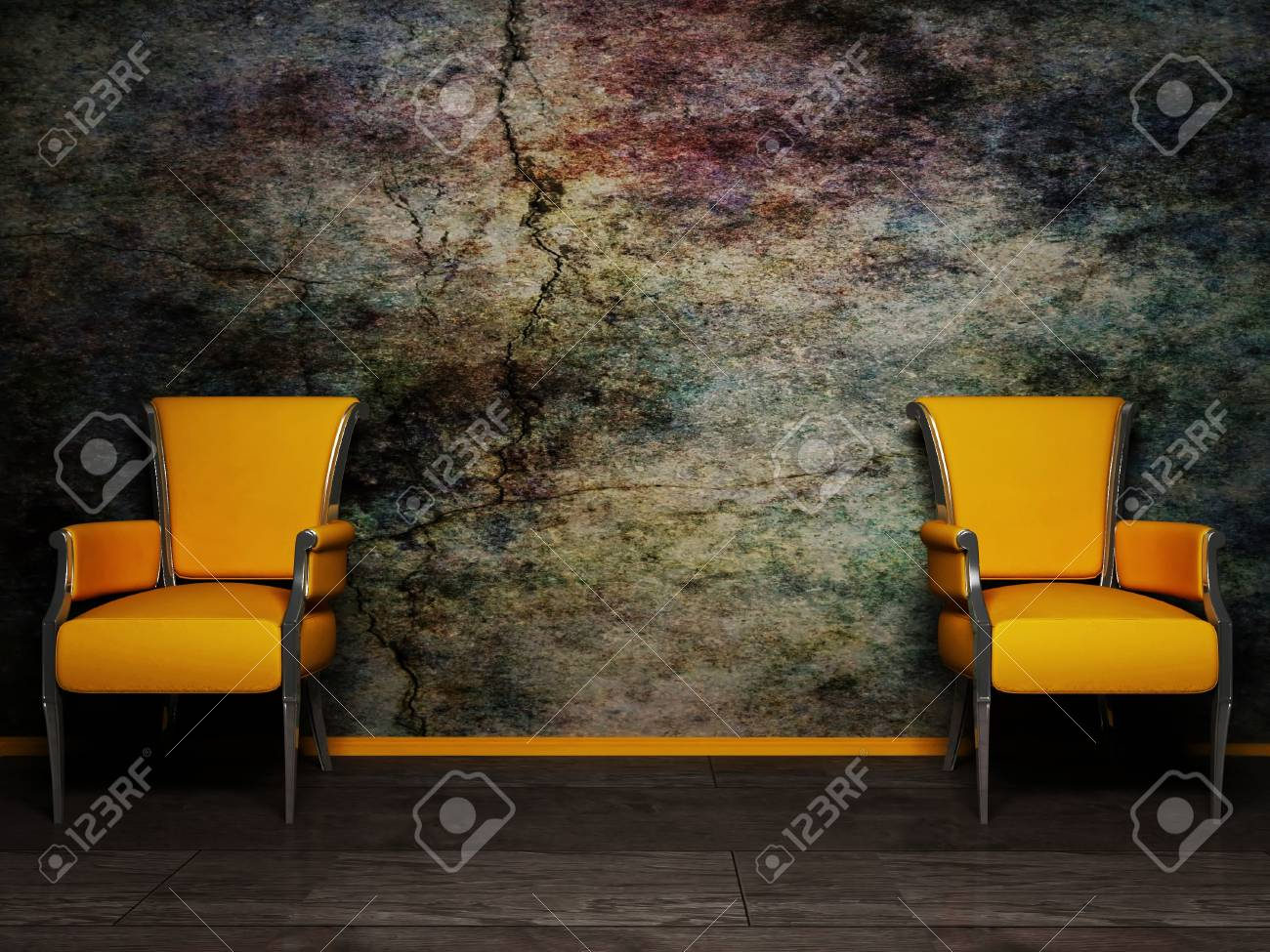 Interior design scene with two armchair on the grunge background Stock Photo - 12975931