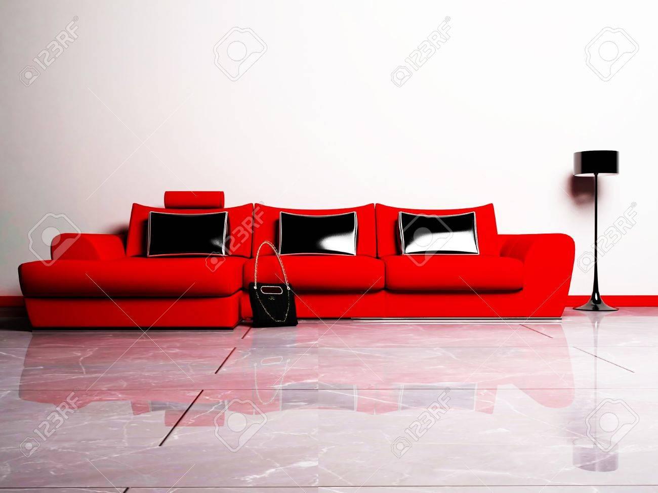 Moderne Interieur Van Een Woonkamer Met Een Rode Bank, Een Tas En ...