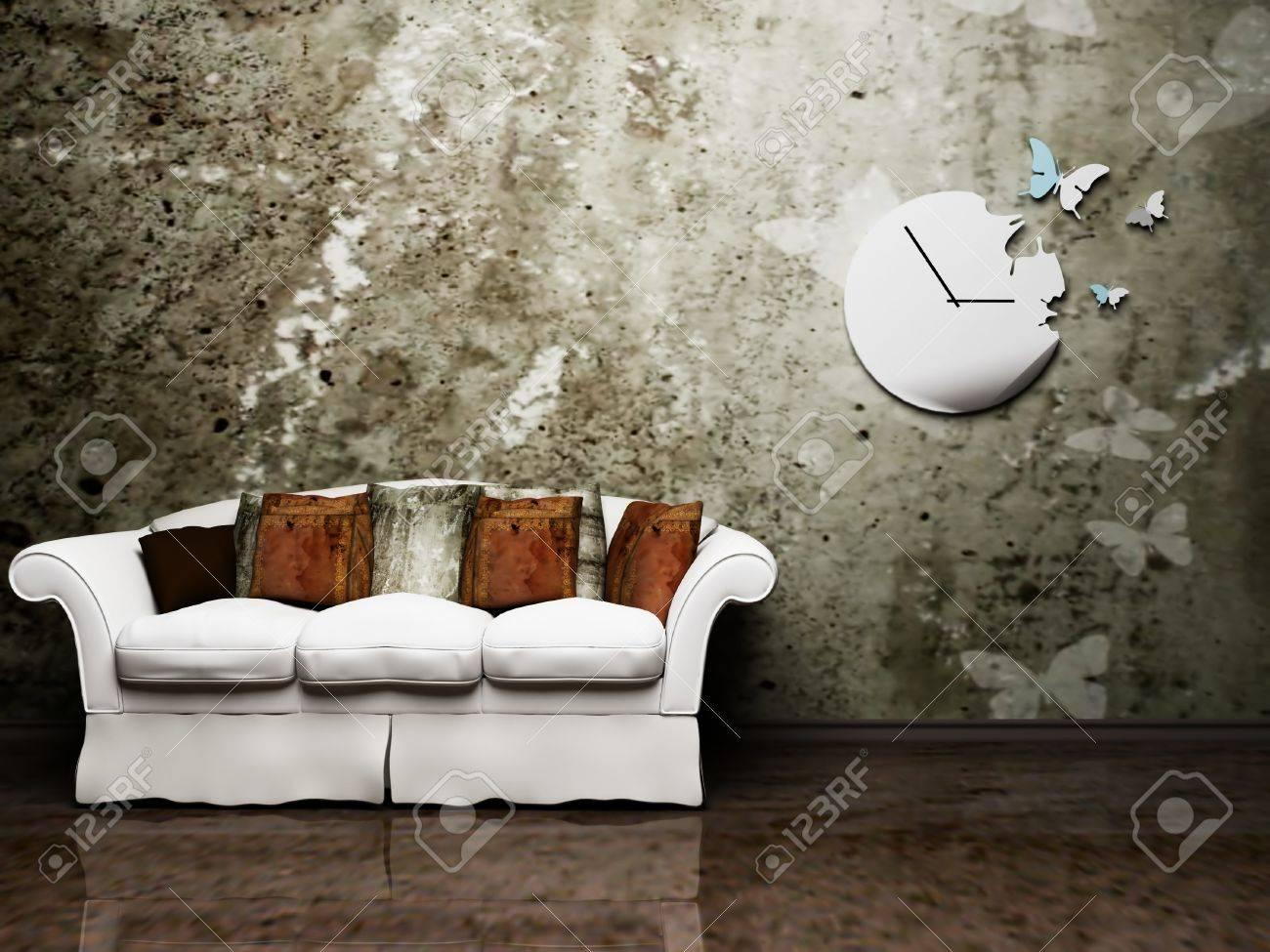 Moderne Innenarchitektur Wohnzimmer Mit Einem Schönen Sofa Und Eine ...