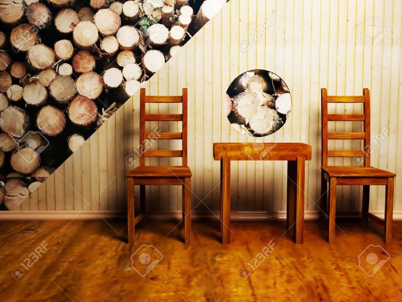 Moderne Innenarchitektur Von Wohn-oder Café Mit Zwei Stühlen Und ...