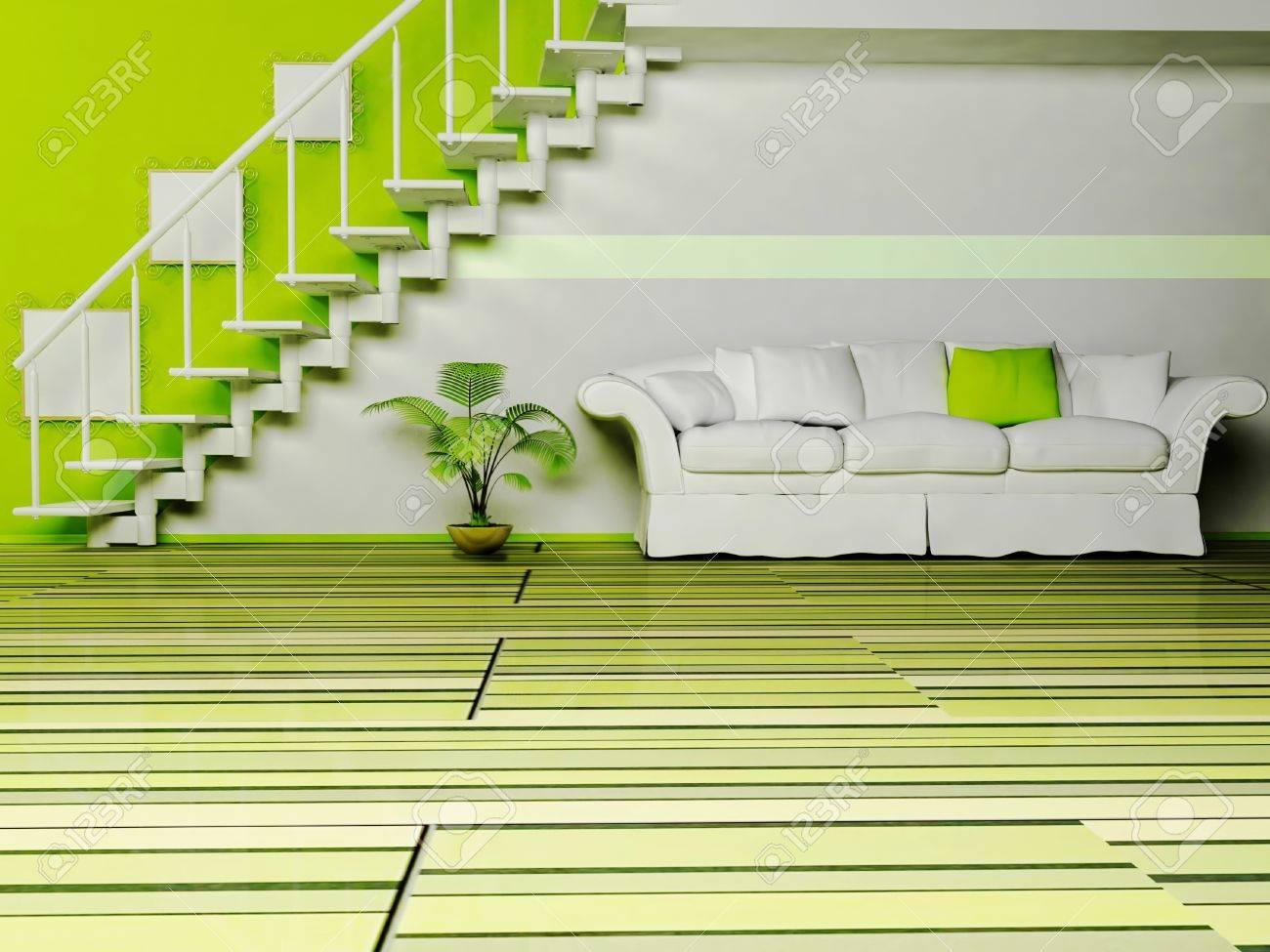 Moderne Innenarchitektur Wohnzimmer Mit Einem Schönen Sofa, Der ...