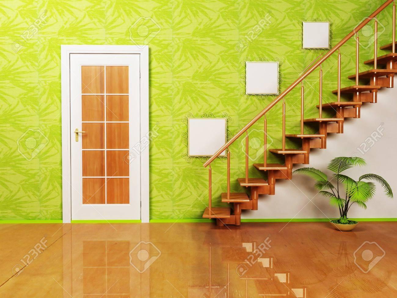 Interieurontwerp scène met een mooie deur een plant en de trap