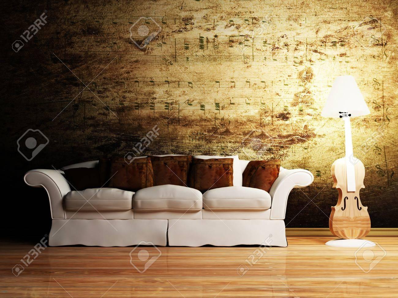 Moderne Innenarchitektur Wohnzimmer Mit Einem Schönen Sofa Und Einem  Kreativen Stehleuchte Standard Bild   12975928