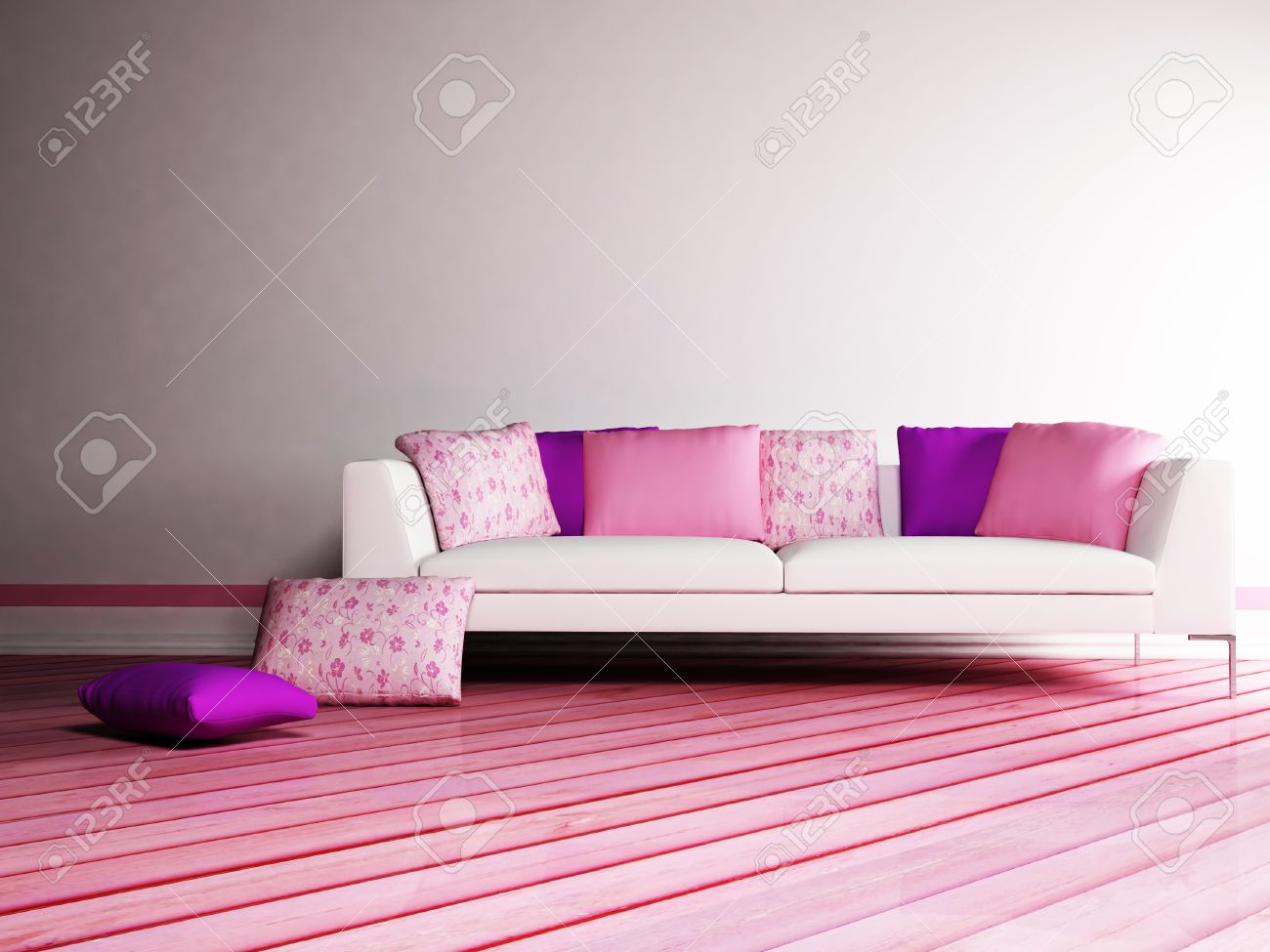 Modern  interior design of living room with a nice sofa with many pillows Stock Photo - 12975462