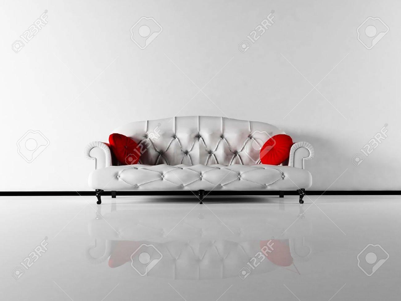 Interior Design Scene With A Classic White Sofa In Empty Room Stock Photo    12975034